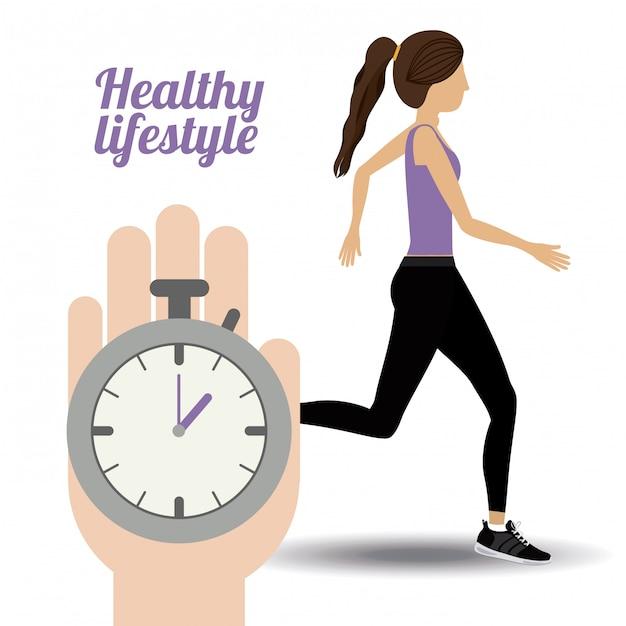 Healty lifestyle illustration Premium Vector