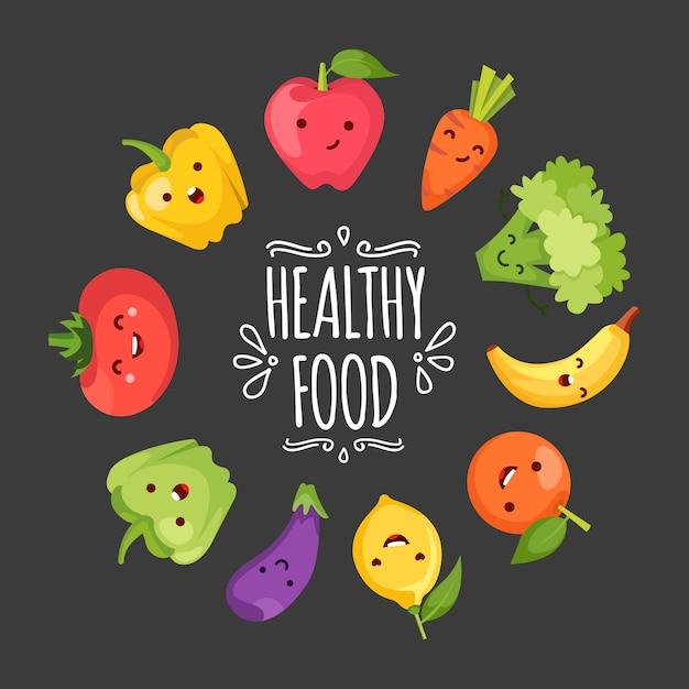 いくつかの面白い野菜を表すhealty食品の漫画 無料ベクター