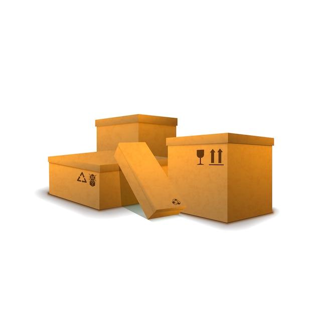 白の貨物標識の段ボール小包のヒープ Premiumベクター