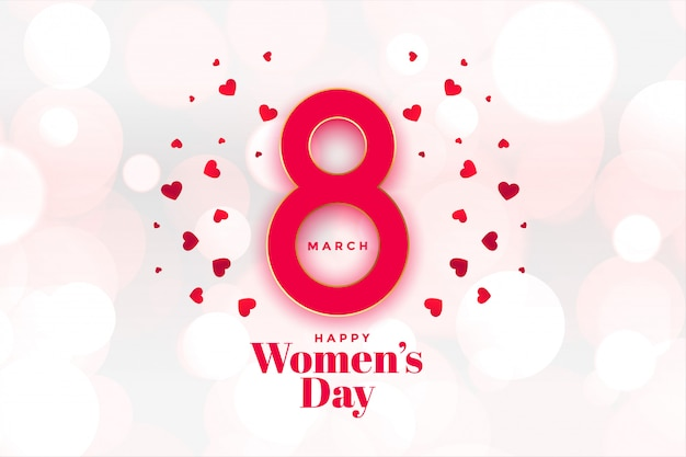Heappy womens day hearts background beautiful Free Vector