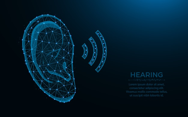 Hearing low poly design, human ear wireframe mesh polygonal illustration made from points and lines on dark blue Premium Vector