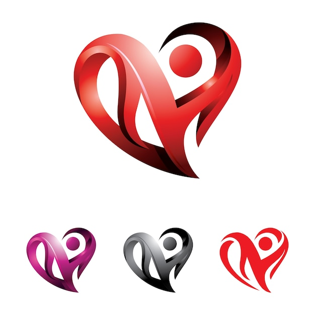 Heart Abstract 3D Love Logo Illustration Premium Vector