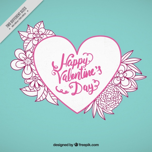 Heart and flower sketch background Free Vector