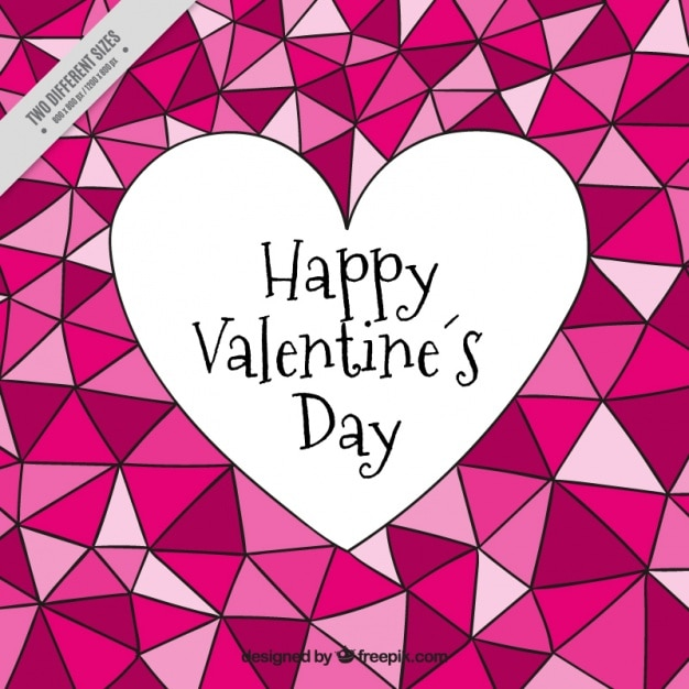 Heart and hand drawn triangles background  Free Vector