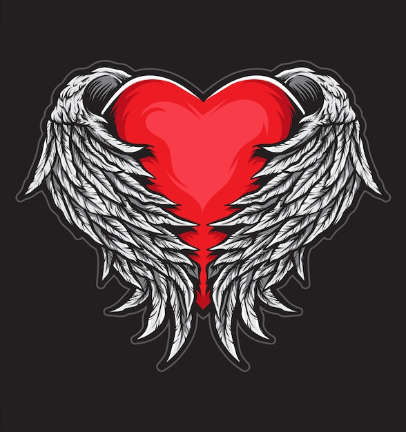Heart angel wings Premium Vector
