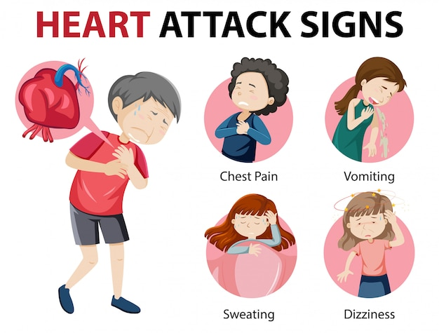Heart attack symptoms or warning signs infographic Free Vector