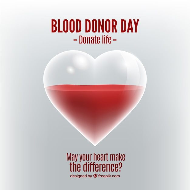 Heart background and blood donation Free Vector