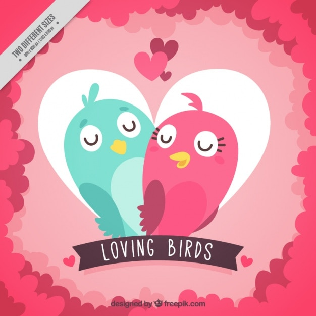 Heart background with birds in love
