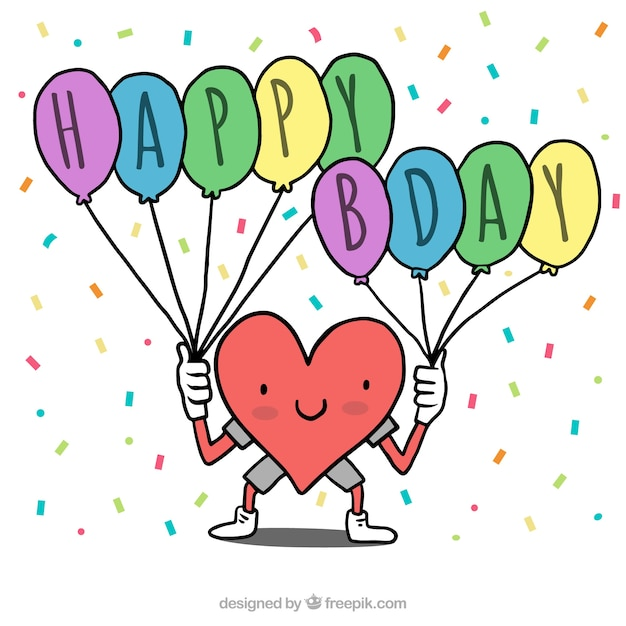 Heart Background With Happy Birthday Balloons Free Vector