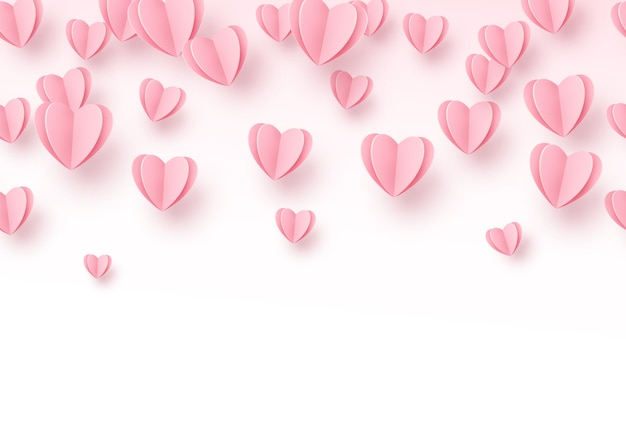 Heart background with light pink paper cut hearts. Free Vector