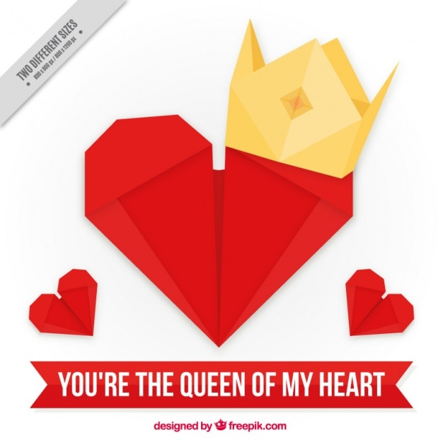 Heart Background With Origami Crown Vector Free Download