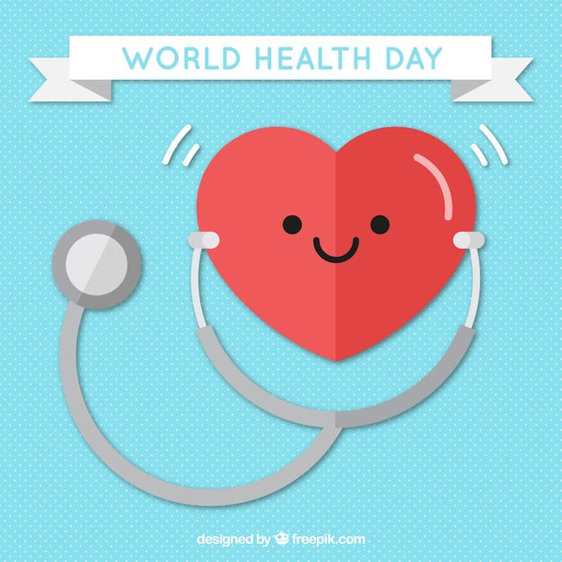 Heart background with stethoscope Free Vector