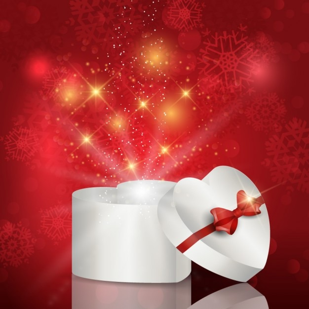 Heart box christmas background Free Vector