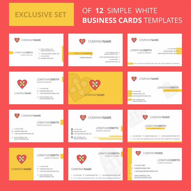 Heart  busienss card template. editable creative logo and visiting card Free Vector