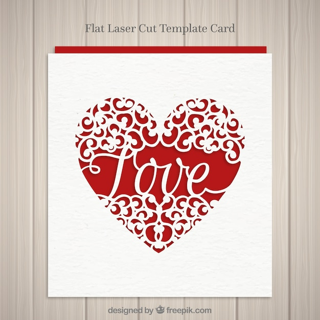 Heart card with the word love Free Vector