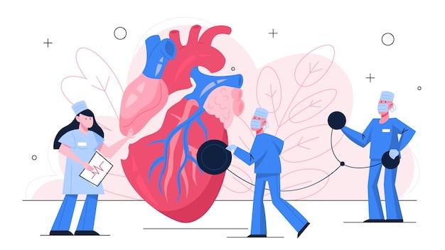Концепция баннера проверки сердца. идея здравоохранения и диагностики заболеваний. врач осматривает сердце с помощью стетоскопа. кардиолог. иллюстрация в стиле Premium векторы