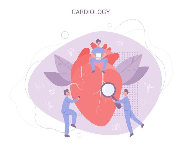 Баннер проверки сердца. идея лечения и диагностики болезней. доктор исследует сердце. кардиолог. в Premium векторы