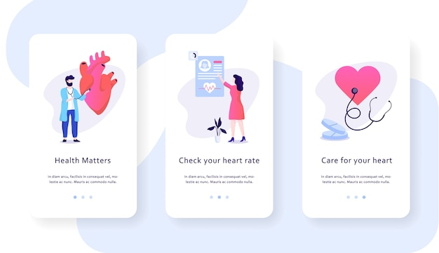 Концепция мобильного веб-баннера проверки сердца. идея здравоохранения Premium векторы