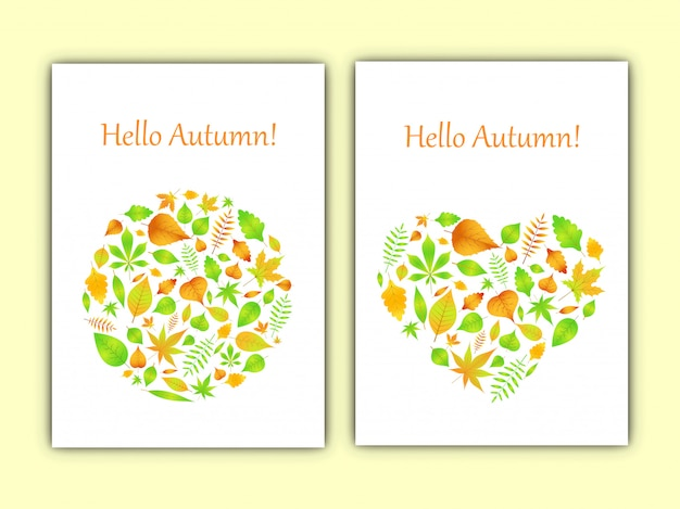 Heart and circle of autumn leaves in vector card Premium Vector