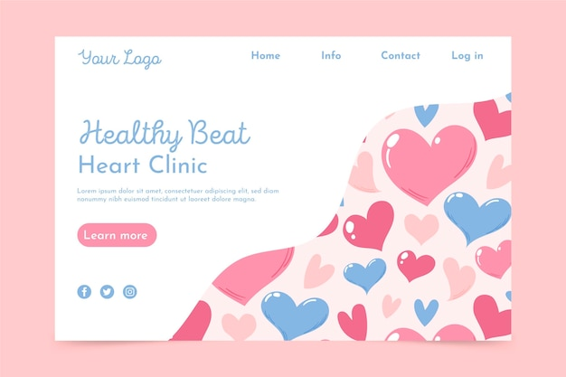 Heart clinic landing page Free Vector