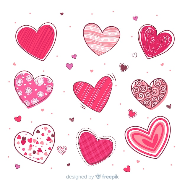 Heart collection Free Vector