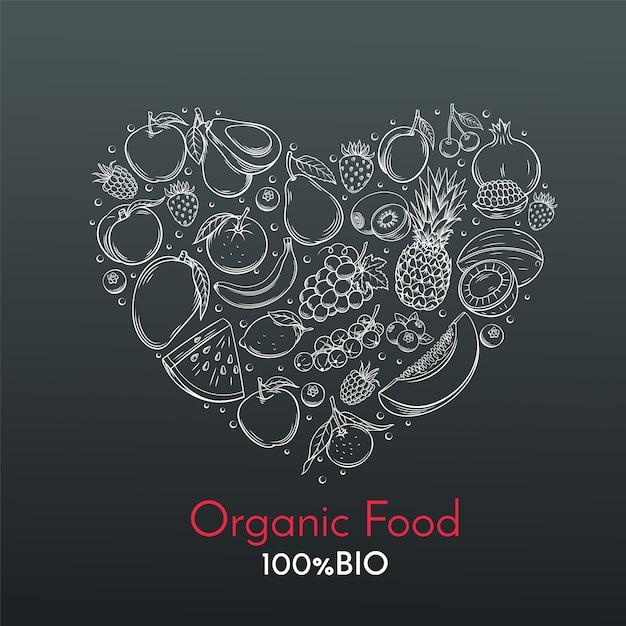 Композиция из сердца с рисованной фруктами Premium векторы