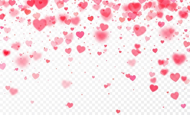 Heart confetti falling on transparent background. valentines day card Premium Vector