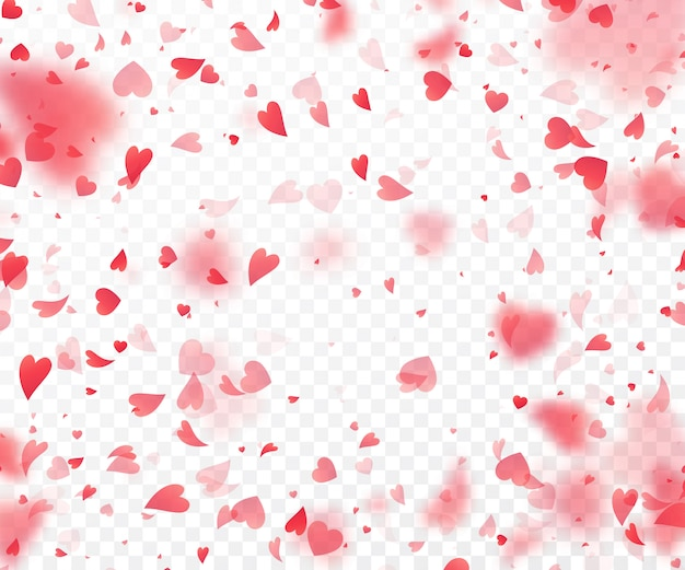 Heart confetti falling on transparent background. Premium Vector