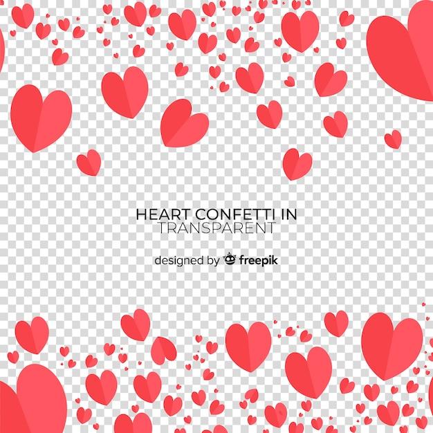Heart confetti transparent background Free Vector