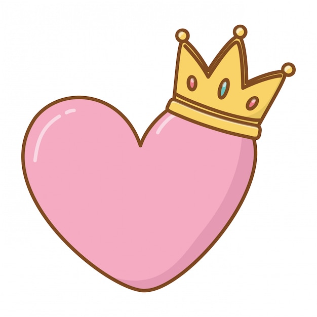 Heart and crown Premium Vector