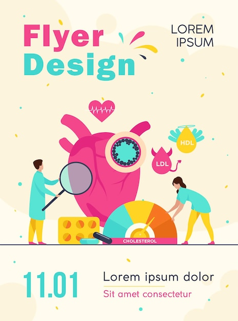 Heart disease risk concept flyer template Free Vector
