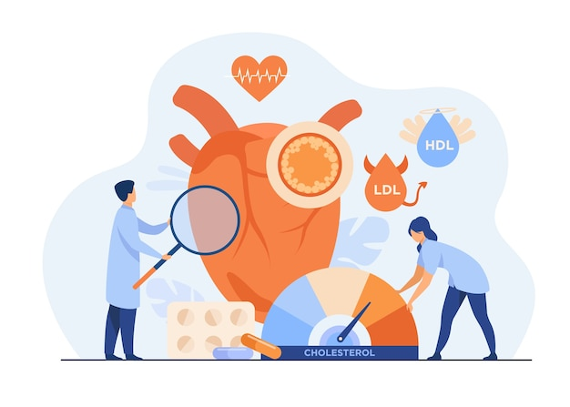 心臓病のリスクの概念。高コレステロール、血圧、心臓血管系の問題を抱える心臓の健康診断。 無料ベクター