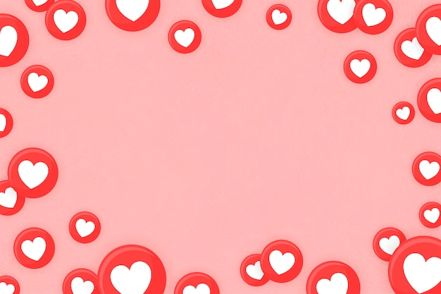 Heart emoji framed background Free Vector