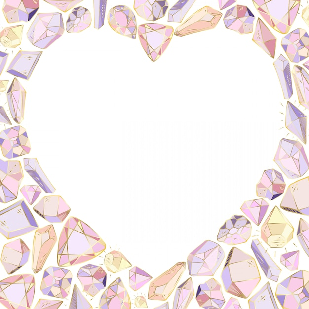 Heart frame of crystals and gems - on white background Premium Vector