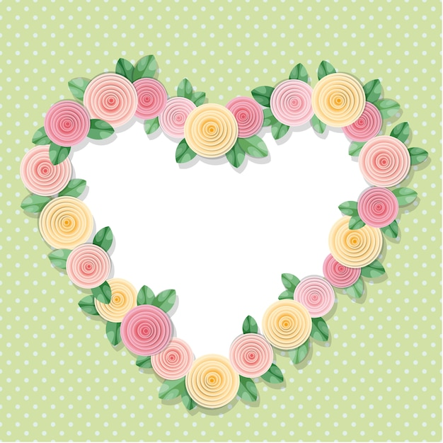Heart frame decorated with roses on polka dots. Premium Vector