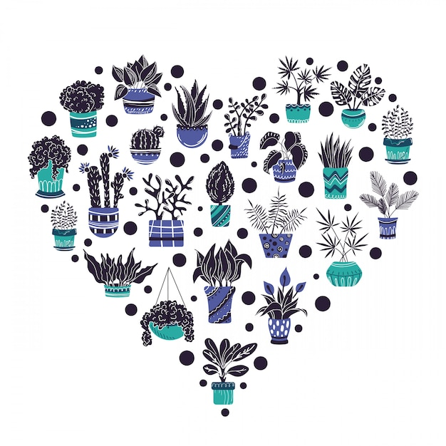 Heart frame of home potted plants Premium Vector