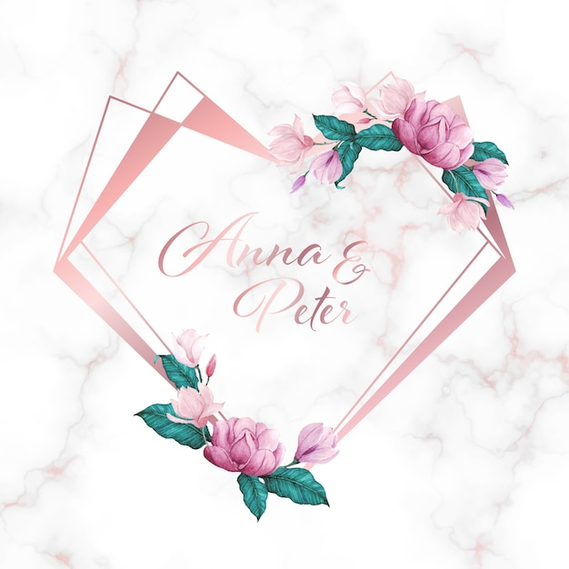 結婚式のモノグラムのロゴと招待状カードの大理石の背景に花とハートフレーム 無料ベクター