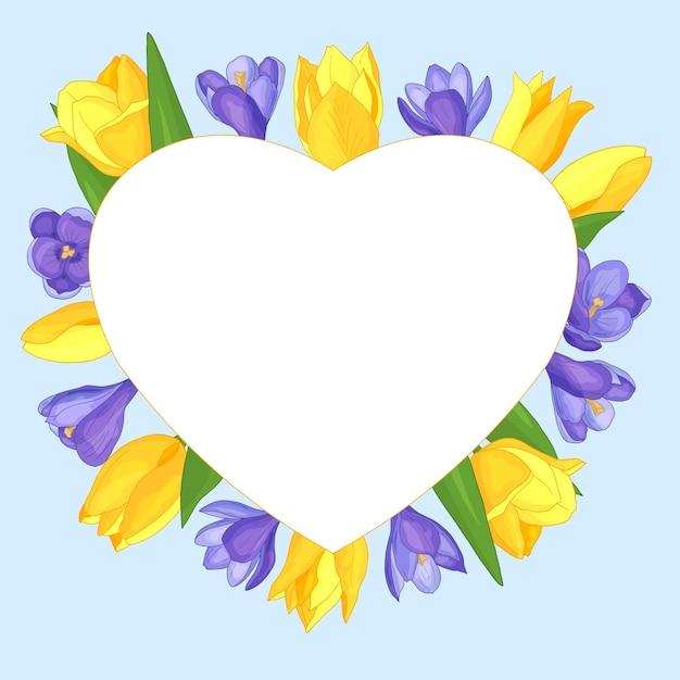 花とハートフレーム-青い背景に黄色のチューリップと紫のクロッカス、バレンタインデー Premiumベクター