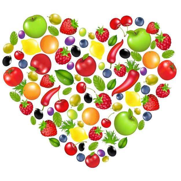 野菜や果物、白い背景、イラストからの心 Premiumベクター