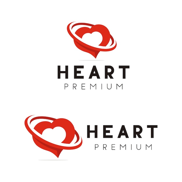 Heart galaxy logo design Premium Vector