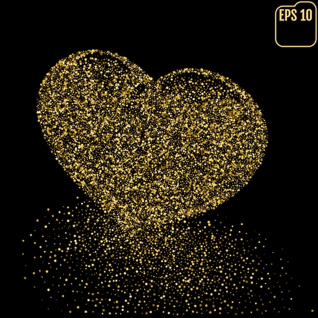 Heart of gold glittering dots dust trail Premium Vector