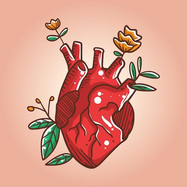 Heart grows roses illustration Premium Vector