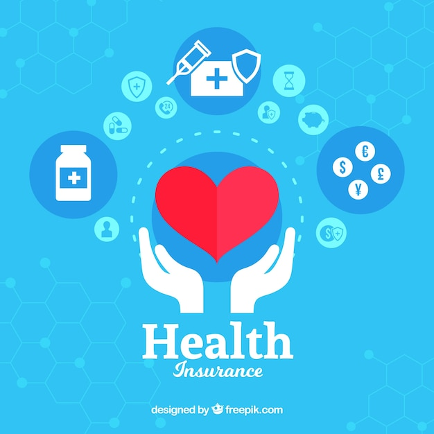 Heart and hands with health icons Free Vector