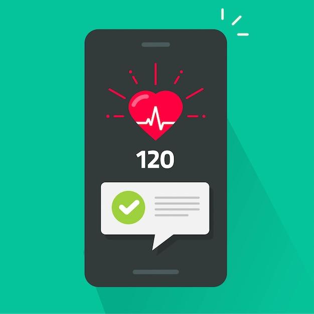 携帯電話アプリトラッカーでの心臓の健康診断テスト Premiumベクター