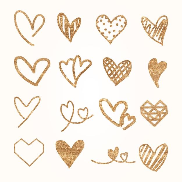 Сердце иконки акварельные иллюстрации набор Бесплатные векторы
