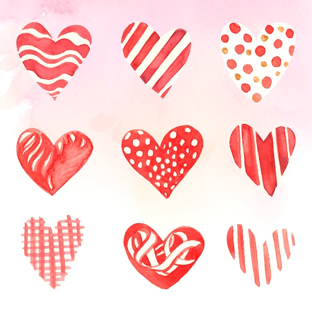 Heart icons watercolor illustration set Free Vector