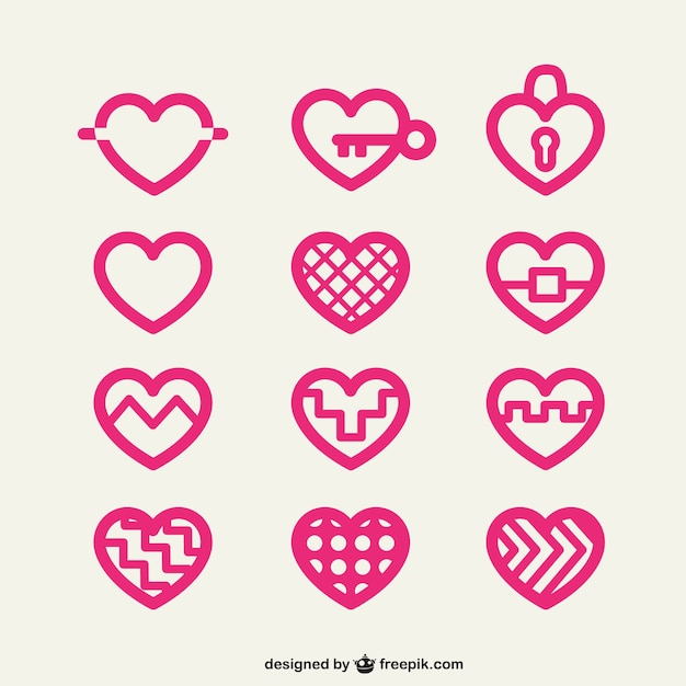 Heart icons Free Vector