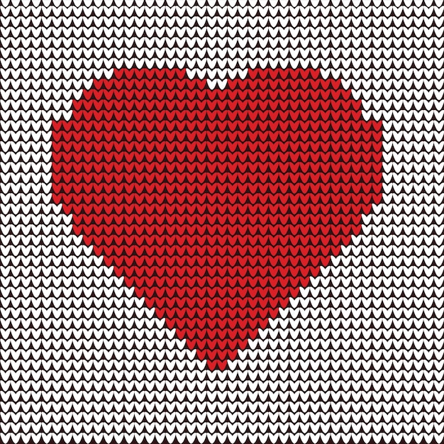 Heart illustration embroidery on fabric pattern Premium Vector
