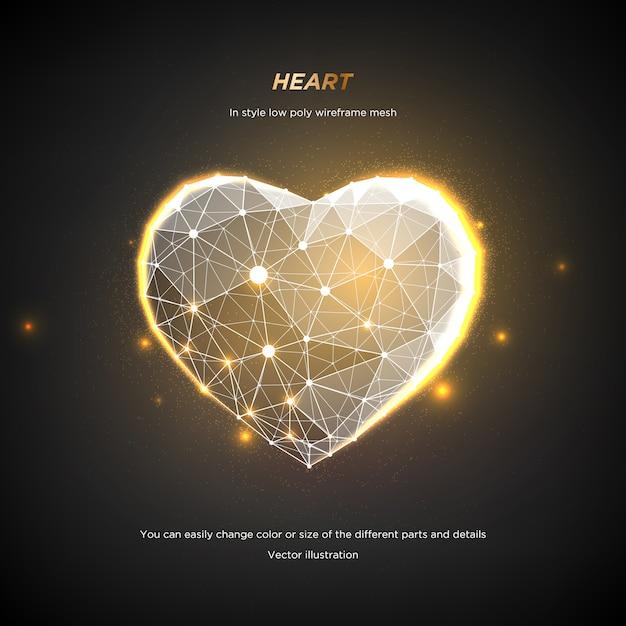ハートインスタイルの低ポリワイヤフレームメッシュ。暗い背景に抽象化します。コンセプト愛や技術。神経叢ラインと星座のポイント。粒子は幾何学的な形で接続されています。星空。 Premiumベクター