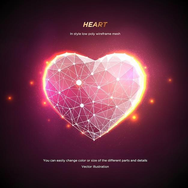 ハートインスタイルの低ポリワイヤフレームメッシュ。ピンクの背景に抽象化します。コンセプト愛や技術。神経叢ラインと星座のポイント。粒子は幾何学的な形で接続されています。星空。 Premiumベクター